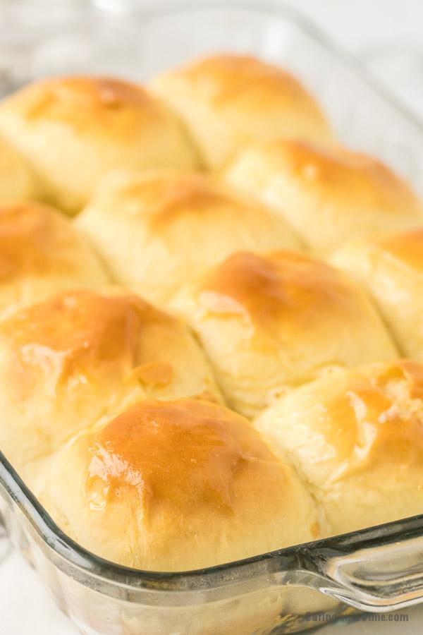 rolls in a baking dish.