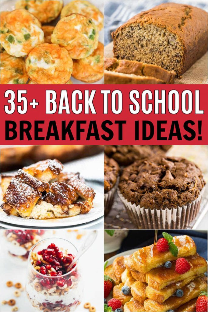These breakfast ideas are great for crazy busy school morning! The kids will love these simple breakfast recipes that are perfect for kids and for teens too!  These breakfast recipes are great to make ahead and are quick and easy to make in the morning too!  #eatingonadime #breakfastrecipes #backtoschool