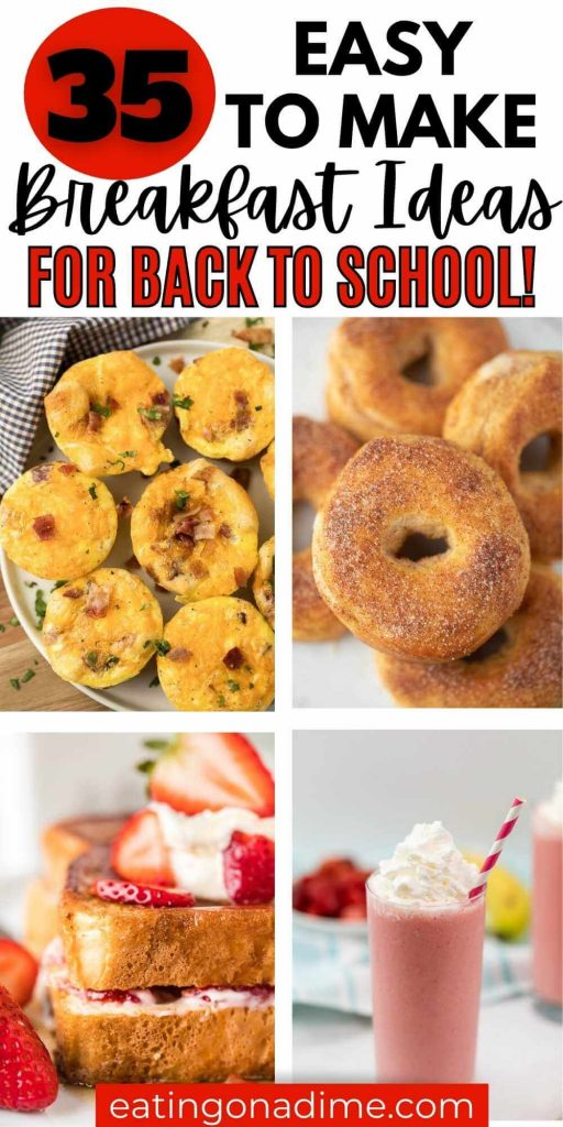 School mornings are crazy but these easy back to school breakfast ideas will get your morning started right. The kids will love these easy breakfast recipes that are perfect for kids and for teens too!  These breakfast recipes are great to make ahead and are quick and easy to make in the morning too!  #eatingonadime #breakfastrecipes #backtoschool