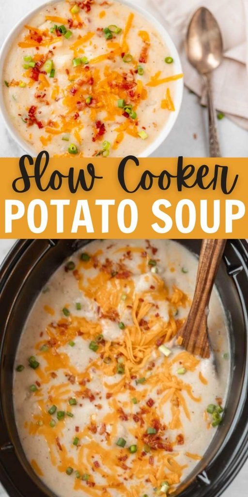 Are you looking for an Easy Crock Pot Potato Soup recipe? Slow Cooker Potato Soup is the best comfort food and so simple. Try Crock pot loaded potato soup with potatoes. This soup is easy to make in the crock pot and packed with flavor too! #eatingonadime #crockpotrecipes #slowcookerrecipes #souprecipes #potatosouprecipe