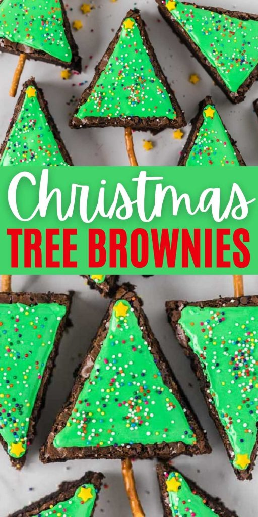 These Christmas tree brownies are really easy to make and decorate, but look festive and would definitely be a hit at any Christmas party! You can make these using your favorite brownie recipe or a brownie mix.  This is the best and one of the easiest holiday treats.  Everyone loves this Christmas tree brownies recipe! #eatingonadime #holidaydesserts #brownierecipes #christmasdesserts #christmastreedesserts