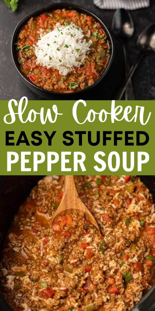 Crockpot Stuffed Pepper Soup is so easy to make and tastes delicious too. You will love this stuffed pepper soup crock pot recipe. The entire family loves this simple slow cooker soup recipe that is easy to throw in the crock pot and ready at dinner time! #eatingonadime #crockpotrecipes #slowcookerrecipes #souprecipes #stuffedpeppersoup