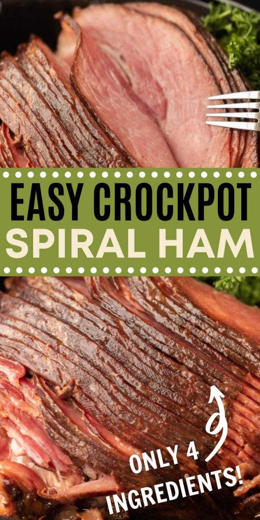 Crock pot Ham Recipe is easy to make with only 4 ingredients. Slow cooker ham is perfect for the holidays and frees up your oven for all your other side dishes. Try this crockpot spiral ham today! This is the BESTA way to make a ham for the holidays.  #eatingonadime #crockpotrecipes #slowcookerrecipes #hamrecipes #holidayrecipes