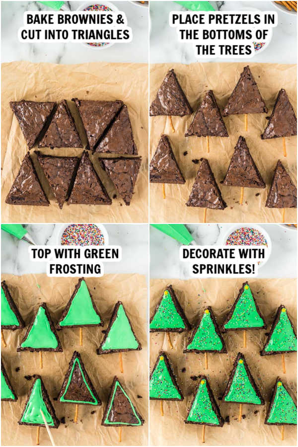 Close up image of the process of making Christmas tree brownies.