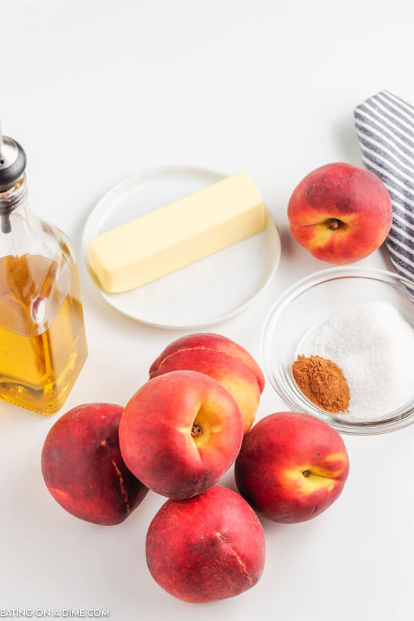 ingredients for recipe: peaches, butter, oil, cinnamon