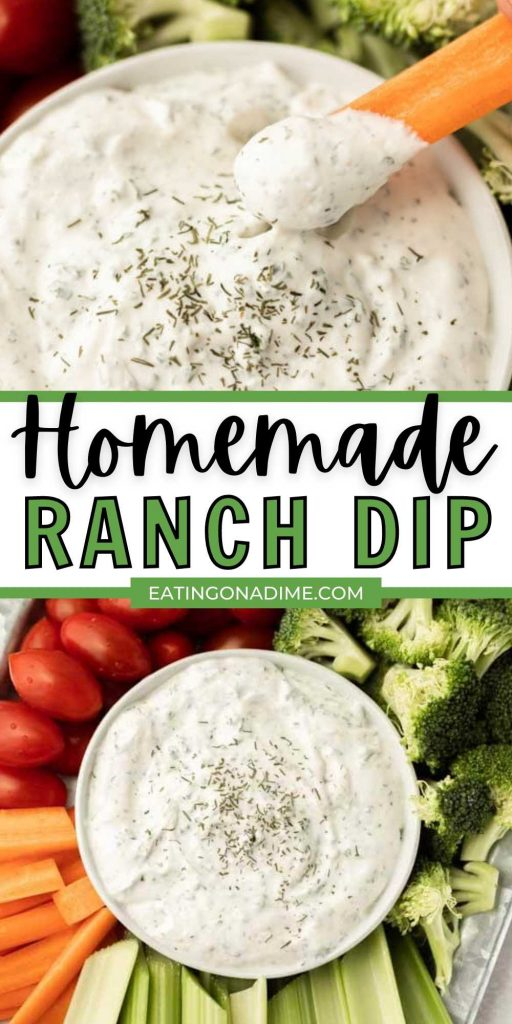 This homemade ranch dip is better than store bought! From scratch homemade ranch dip is perfect for veggies or for chips.  This ranch dip is easy to make in less than 10 minutes with sour cream and is great for a crowd!  #eatingonadime #diprecipes #homemadedips #veggiedips