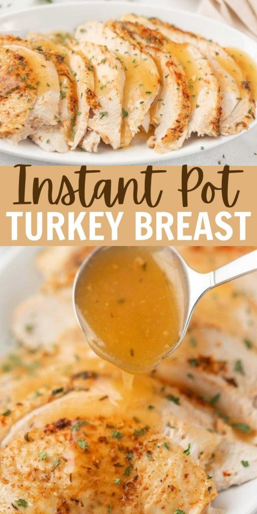 Tender and super juicy Instant Pot Turkey Breast (boneless or bone-in) is a great Thanksgiving dinner option for smaller groups.  This Instant Pot Turkey Breast Roast is easy to make and is a great healthy dinner option too! This is one of my favorite and easiest holiday recipes. #eatingonadime #instantpotrecipes #pressurecookerrecipes #turkeybreast #turkeybreastrecipes