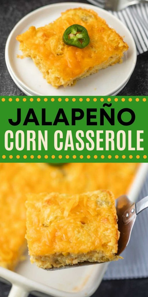 Give your jiffy corn casserole a kick with jalapeños! You are going to love this easy and simple Jalapeño corn casserole recipe that is simple to make but packed with flavor.  This casserole is perfect to make for Thanksgiving, Christmas or any holiday!  The entire family will love it. #eatingonadime #casserolerecipes #corncasserole