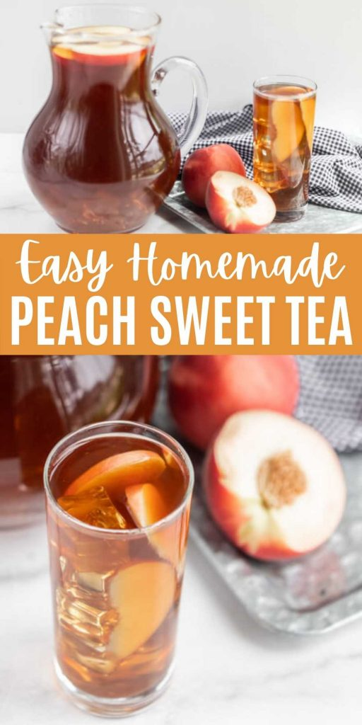 This refreshing Sweet Peach Tea recipe is easy to make and perfect for summer! It features an easy to make homemade peach syrup that makes every glass perfect every time!  Everyone will love this homemade peach tea recipe.  #eatingonadime #drinkrecipes #peachrecipes #tearecipes