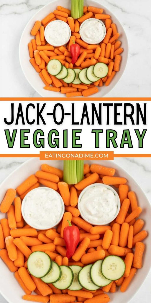 This super easy and festive Jack-O-Lantern Veggie Tray is a healthy Halloween party platter that is easy to make in minutes!  Everyone will love the pumpkin veggie tray at your next Halloween Party.  This pumpkin veggie tray is festive and simple to make! #eatingonadime #veggietrayrecipes #halloweenrecipes #vegetablerecipes