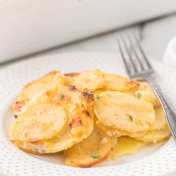 scalloped potatoes on plate