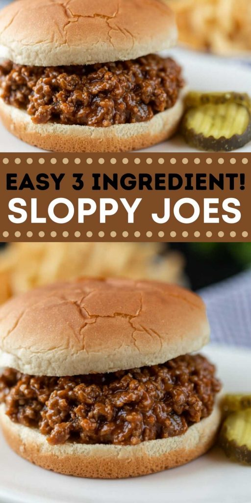 This easy Sloppy Joes recipe is easy to make and taste better than sloppy joes in a can. How to make sloppy joes with ketchup and just two more ingredients! Everyone loves this simple to make sloppy joes! #eatingonadime #easydinners #sloppyjoesrecipes #beefrecipes #sandwichrecipes