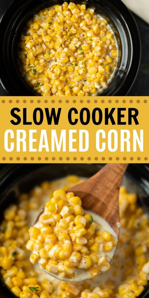 Creamed corn is easy to make in a slow cooker. This Slow Cooker creamed corn recipe is easy to make and delicious too! Crock Pot Creamed Corn is a simple side dish that is perfect for any occasion or holiday.  This is one of my favorite easy side dish recipes! #eatingonadime #creamedcorn #holidayrecipes #cornrecipes #crockpotrecipes #slowcookerrecipes