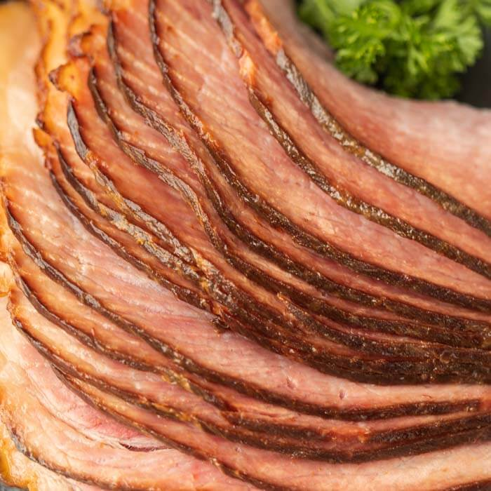 close up picture of spiral ham