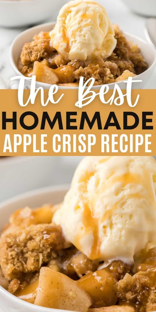 This is the best homemade apple crisp with oats recipe for the holidays or any day of the year! Full of fresh apples and covered with a delicious, crunchy cinnamon and oats topping. Everyone will love this easy Apple Crisp Recipe! #eatingonadime #applerecipes #crisprecipes #easydesserts