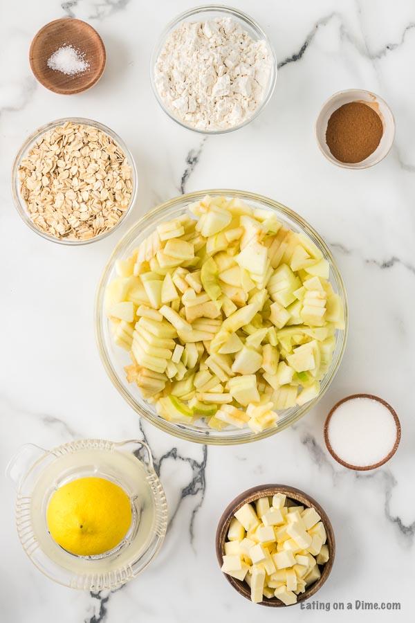 ingredients for recipe: spices, apples, oats, flour, lemon
