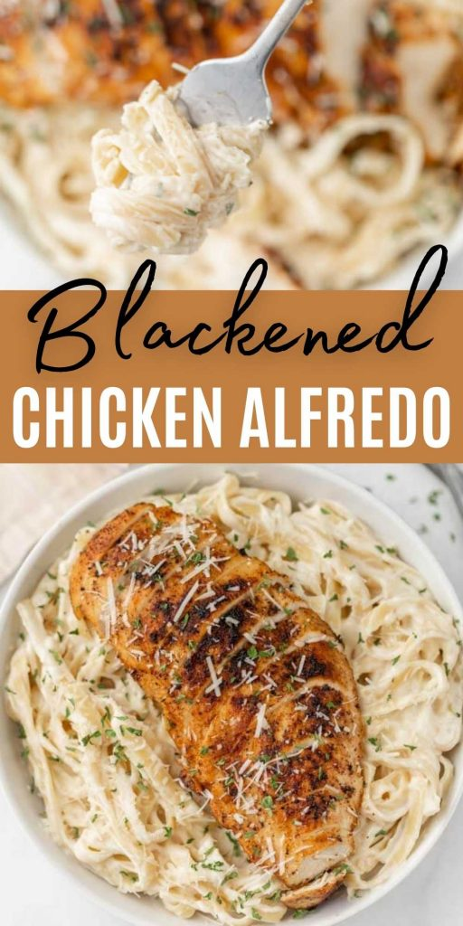 This quick Blackened Chicken Alfredo is easy to make in under 30 minutes! Cajun spice rubbed chicken and creamy pasta combined together make this delicious blackened chicken Alfredo pasta recipe! Everyone loves this easy pasta recipe!  #eatingonadime #blackenedrecipes #chickenrecipes #pastarecipes #easydinners