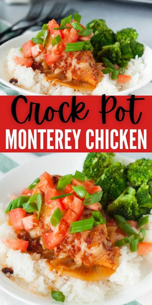 Crock Pot Monterey Chicken Recipe has lots of cheese, barbecue sauce and crispy bacon for the best meal. Try this easy Monterey chicken recipe. It's an easy and delicious slow cooker recipe recipe! #eatingonadime #crockpotrecipes #slowcookerrecipes #chickenrecipes