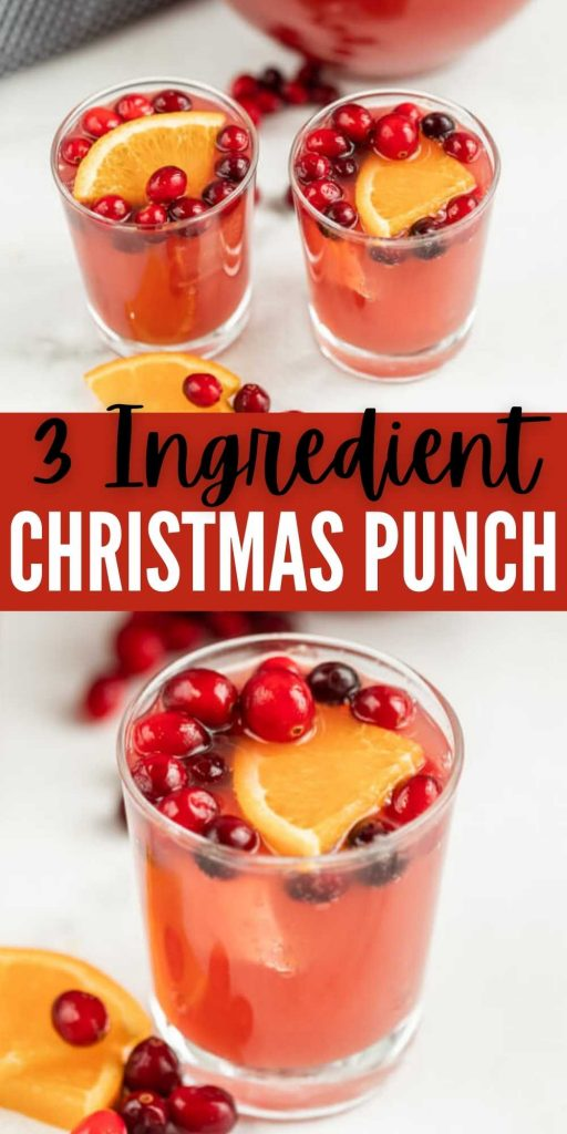 This is the best non alcoholic Christmas punch recipe that the kids AND adults will love.  This punch recipe is easy to make with only 3 ingredients.  It's perfect for Christmas or any other holiday or special occasion.  #eatingonadime #punchrecipes #christmasrecipes #drinkrecipes