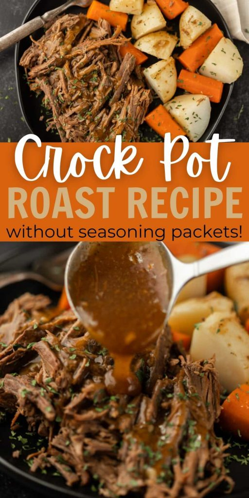 Learn how to make this delicious and easy Crock Pot Roast Recipe without any seasoning packets. It is simple, amazing and gluten free. This slow cooker roast and potatoes with vegetables is made with simple ingredients but still packed with tons of flavor.  This is one of the best beef recipes ever!  #eatingonadime #crockpotrecipes #slowcookerrecipes #roastrecipes
