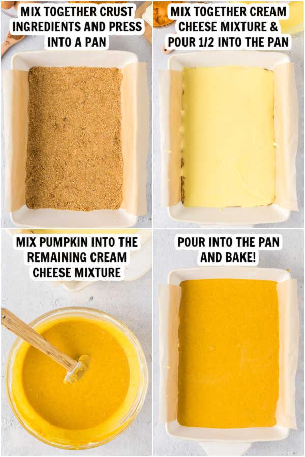Close up image of the process of making pumpkin cheesecake bars.