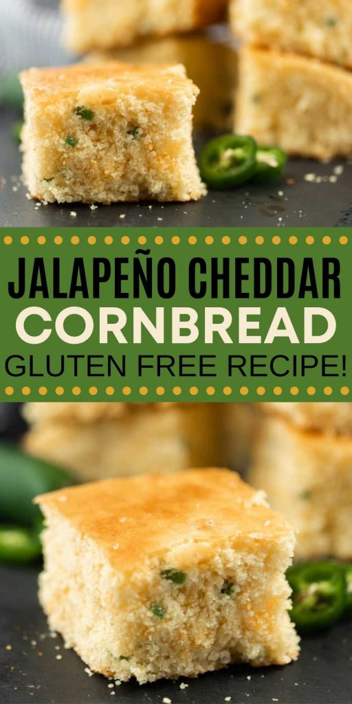 Give this Gluten Free Jalapeño Cheddar Cornbread recipe a try! You will never miss the gluten and it tastes amazing! Even better, it's so simple to make from scratch! Everyone will love this easy gluten free cornbread recipe.  #eatingonadime #cornbreadrecipes #glutenfreerecipes #sidedishrecipes