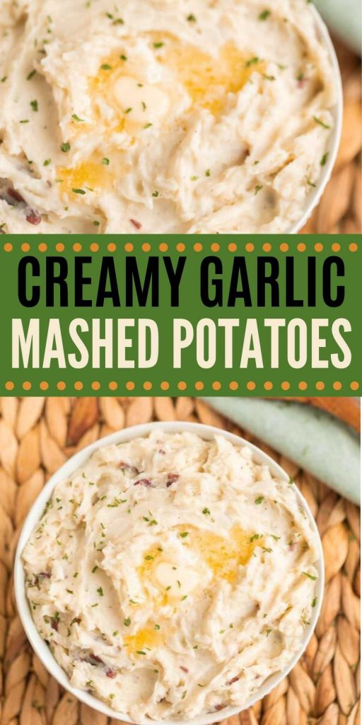 Garlic Mashed Potatoes is a tasty side dish recipe that is easy to make too! These delicious mashed potatoes have a buttery and garlic flavor.  And are only 5 ingredients so they are simple to make in no time at all.  You will love this easy side dish recipe.  #eatingonadime #mashedpotatoes #sidedishrecipes #garlic