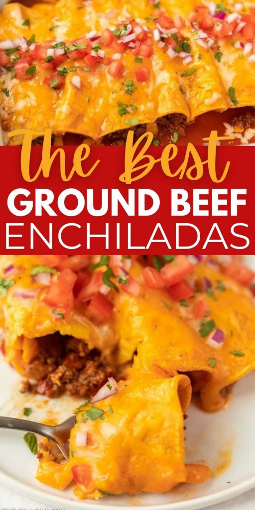 Make this Easy Ground Beef Enchiladas Recipe when you need a quick but tasty dinner idea. Get all the flavors of enchiladas in just minutes with the ground beef enchiladas with red sauce and corn tortillas recipe.  This is the most affordable and easiest ground beef enchiladas recipe! #eatingonadime #enchiladasrecipe #beefrecipes #mexicanrecipes