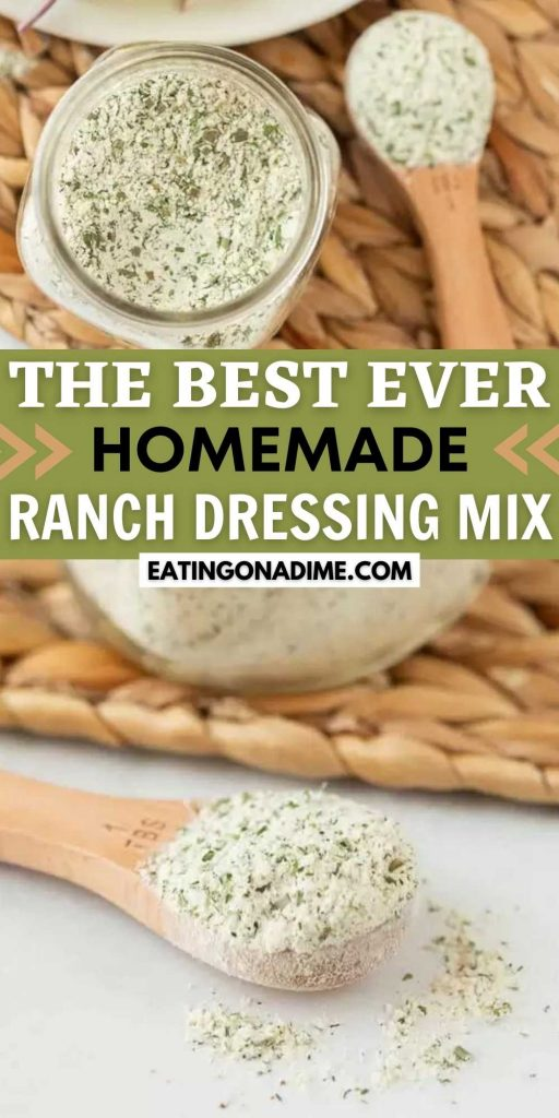 Try this Homemade ranch dressing mix recipe today! This easy and gluten free homemade ranch dip mix can replace any store bought ranch mix! You will love this easy homemade dry ranch dressing mix.  I love homemade spices including this easy recipe! #eatingonadime #homemadeseasonings #ranchdressingmix #DIYseasonings