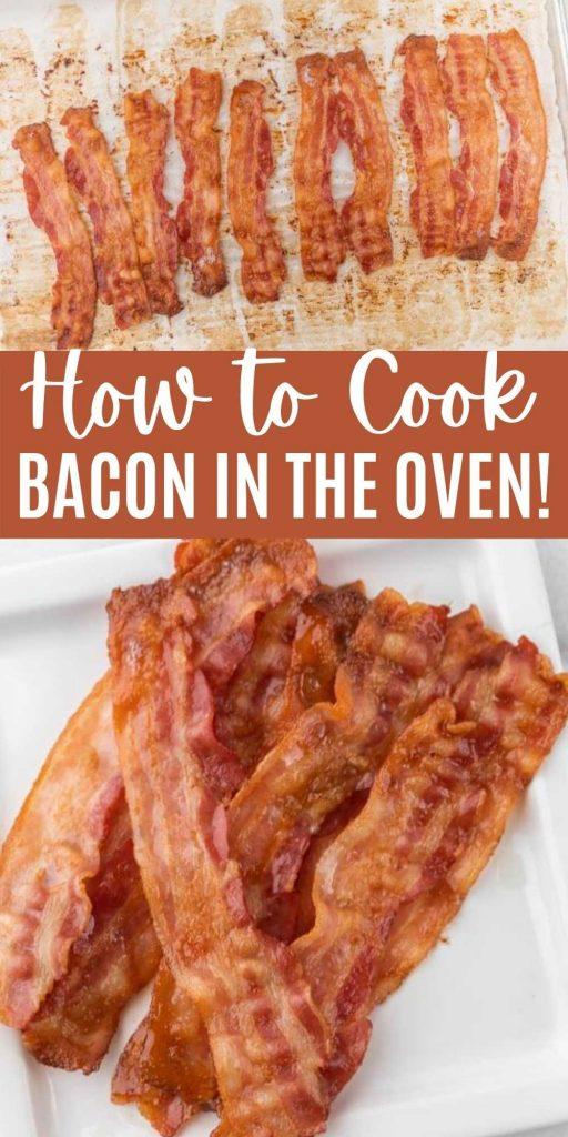 This is the best way to make bacon! Learn how to cook bacon in the oven so it's still crispy and there is no mess to clean up! Plus check out all our tips and tricks for this simple bacon recipe.  Baking bacon is easy to do and tastes great too! #eatingonadime #bacon #breakfast #breakfast #breakfastrecipes #brunch #easyrecipes #sidedish