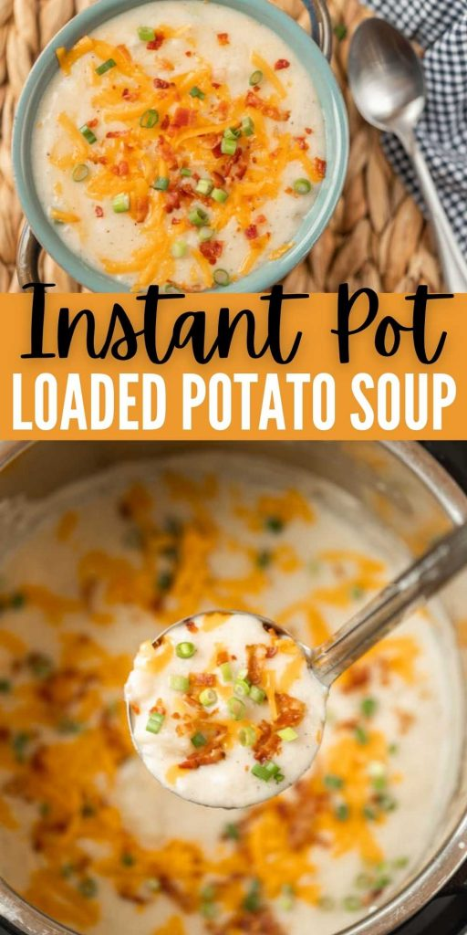 Everything you love about a loaded baked potato is packed in this Instant Pot Loaded Baked Potato Soup recipe. Budget friendly and ready in only 10 minutes. This instant pot potato soup recipe is easy to make and delicious too with cream cheese.  This is one of the best and the easiest soup recipes. #eatingonadime #instantpotrecipes #pressurecookerrecipes #souprecipes