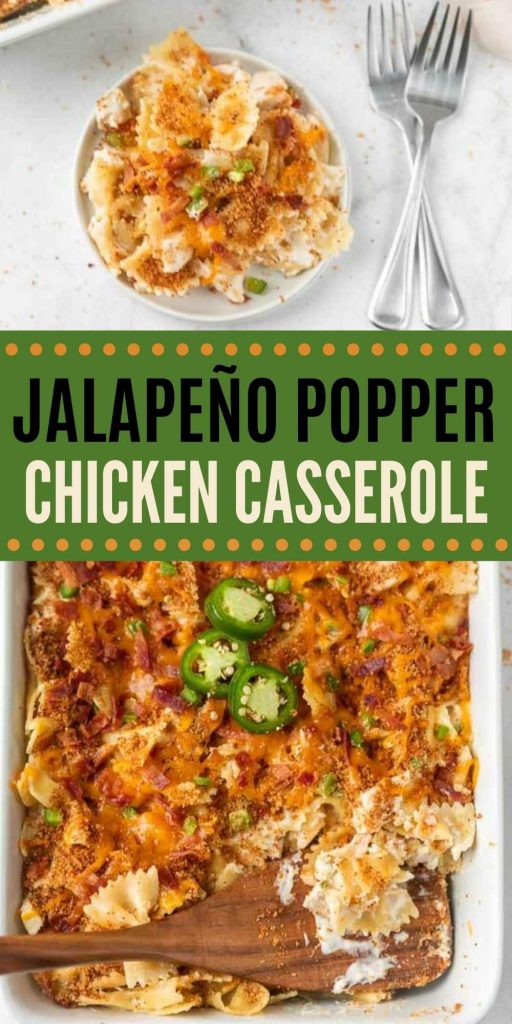 If you love cheesy jalapeño poppers, you are going to love Jalapeño popper chicken casserole recipe. Use precooked chicken and have dinner in 30 minutes. This is a great jalapeño popper chicken casserole with pasta that is easy to make and packed with flavor too! #eatingonadime #jalapeñorecipes #casseroles #chickenrecipes #jalapeñopopperrecipes
