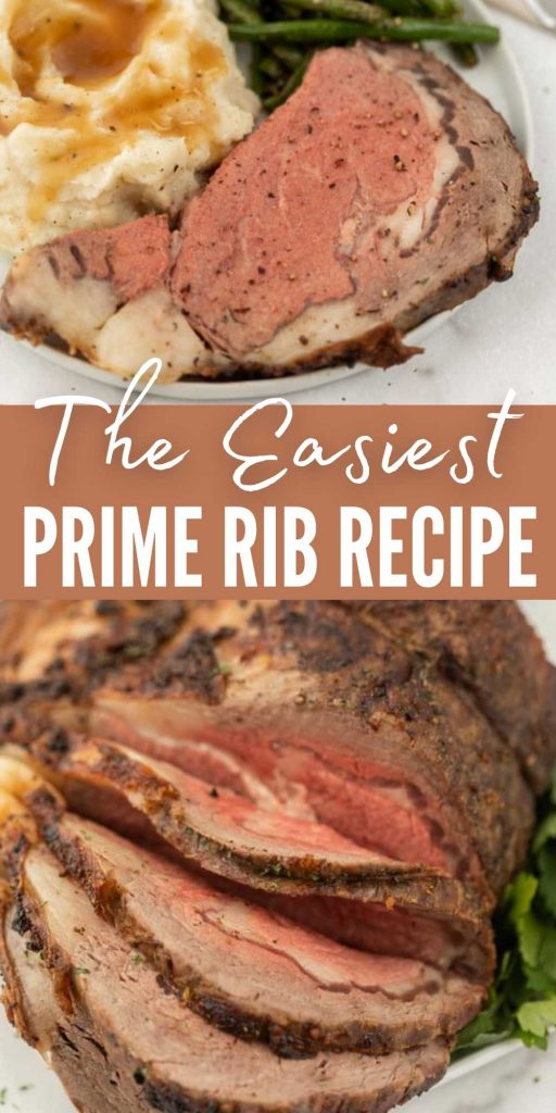 Check out this easy Melt-In-Your-Mouth Prime Rib Recipe! This easy oven roasted prime rib recipe is simple and even a first time prime rib roaster can make this recipe!  This recipe is perfect for Christmas dinner or any special occasion dinner.  #eatingonadime #beefrecipes #primeribrecipes #christmas #christmasrecipes #beefrecipes