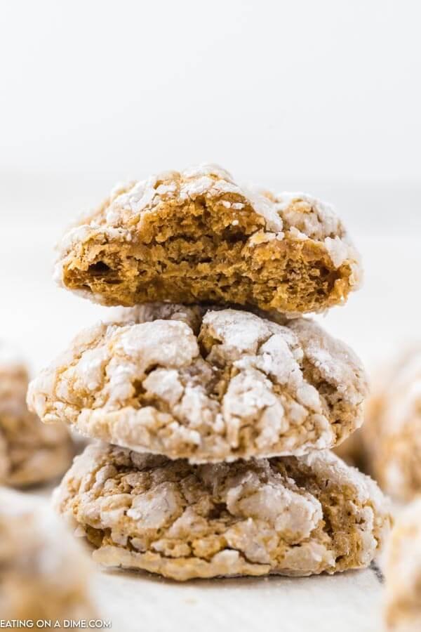 pumpkin cookies stacked together