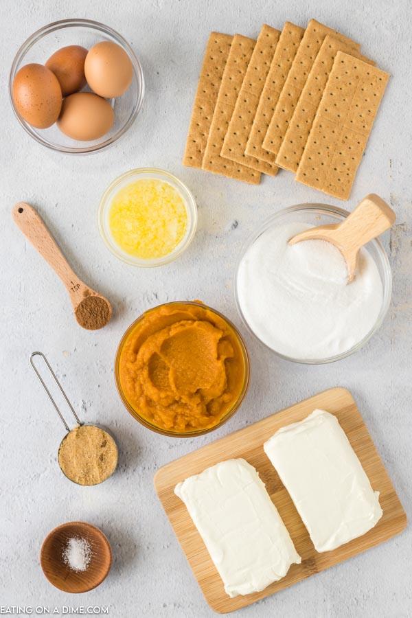 Close up image of ingredients to make pumpkin cheese cake bars.