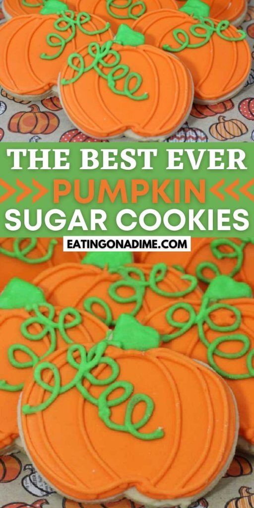 How to make and decorate these adorable pumpkin sugar cookies.Your family will love these Pumpkin Cut Out Cookies decorated with royal icing. Easy to make Pumpkin Sugar Cookie Recipe. You will love these decorated easy pumpkin cookie recipe.  #eatingonadime #cookierecipes #halloweenrecipes #pumpkinrecipes