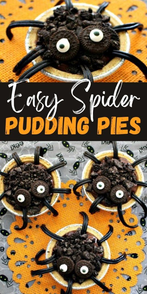 An easy and festive Halloween Pudding desert, Try this Spider Chocolate Pudding Pie! Chocolate Pudding Pie recipe is made to look like spiders! This is a cute and delicious way to decorate your holiday food! #eatingonadime #halloween #dessert #recipes #recipe #pie #halloweenrecipe