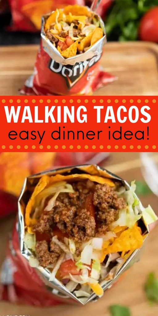 What is a walking taco? You are going to love this walking tacos recipe. It is easy to make and the entire family loves Walking tacos. Learn how to make a walking taco. We love making a walking taco bar for a party for a crowd.  Also, these are perfect for camping! #eatingonadime #walkingtacos #tacorecipes #mexicanrecipes