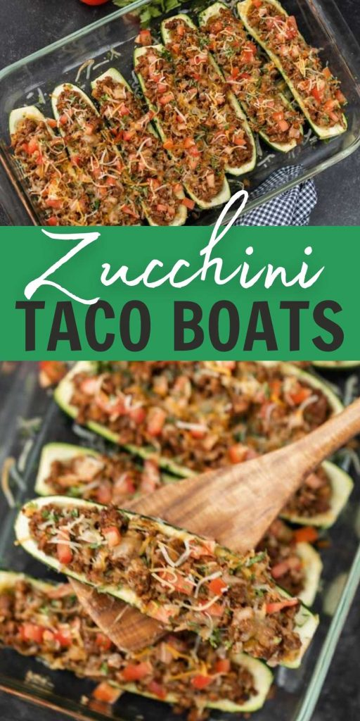 Zucchini Taco Boats are a great healthy option for Taco Tuesday! Make these delicious low carb zucchini taco boats that are packed with flavor too!  #eatingonadime #lowcarbrecipes #healthyrecipes #mexican #mexicanrecipes