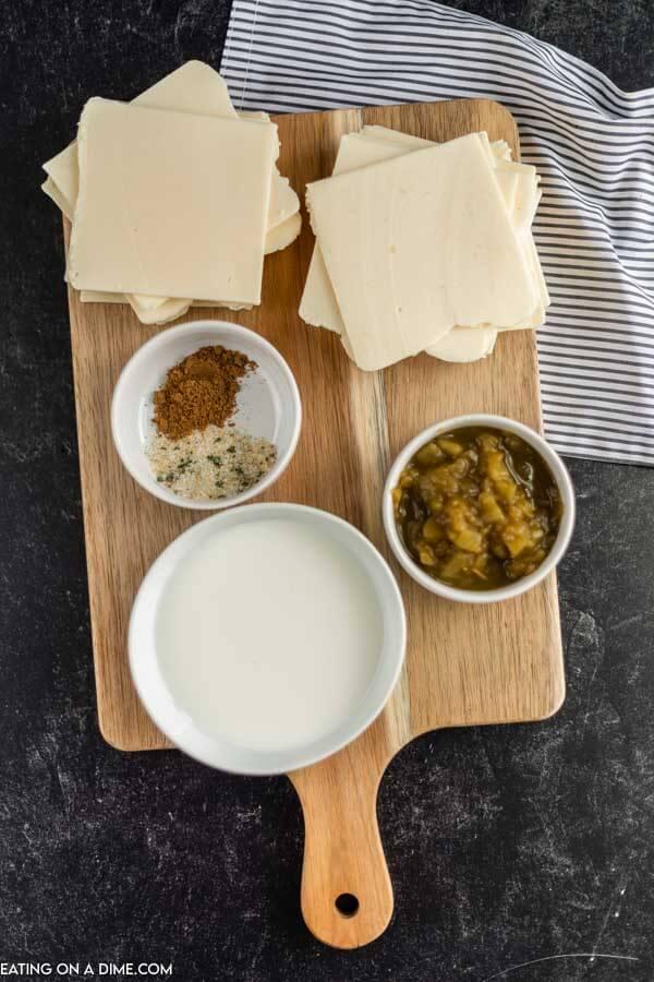 Ingredients to make crock pot white cheese dip