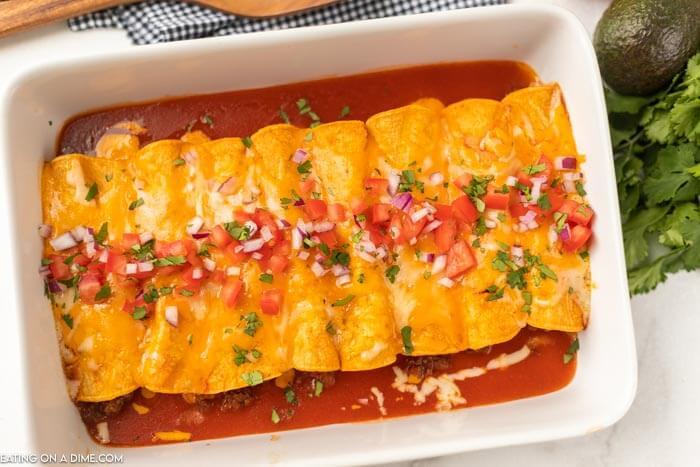 casserole dish with enchiladas