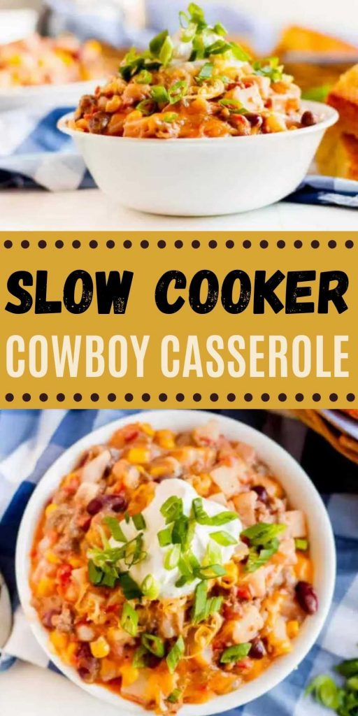 Crockpot Cowboy Casserole has all you need for an easy meal in the slow cooker. Each bite of this Cheesy Cowboy casserole crock pot recipe is loaded with tons of flavor.  I love easy recipes made in a slow cooker and this is one of my favorite super easy crock pot meals! #eatingonadime #crockpotrecipes #slowcookerrecipes #beefrecipes