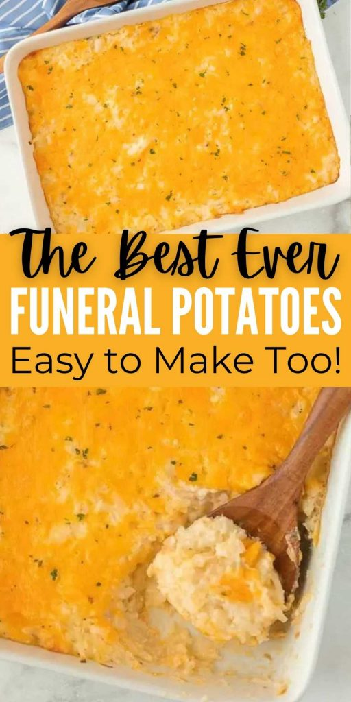Cheesy potato casserole recipe is an easy side dish and perfect for any gathering. This dish has tons of cheese, potatoes and more. These funeral potatoes made with hash browns are perfect for Thanksgiving, Christmas or any party.  #eatingonadime #potatorecipes #funeralpotatoes #sidedishrecipes #holidayrecipes