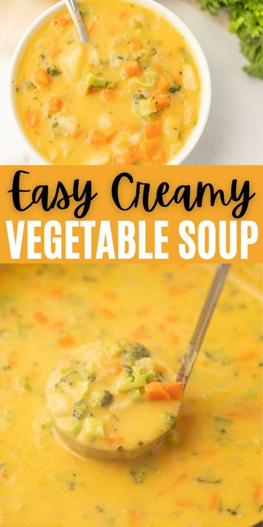 If you love traditional veggie soup, you will go crazy over Creamy Vegetable Soup Recipe. This Easy Creamy Vegetable Soup comes together in just minutes with any easy one pot recipe.  This soup is easy, packed with veggies and healthy too! #eatingonadime #souprecipes #onepotrecipes