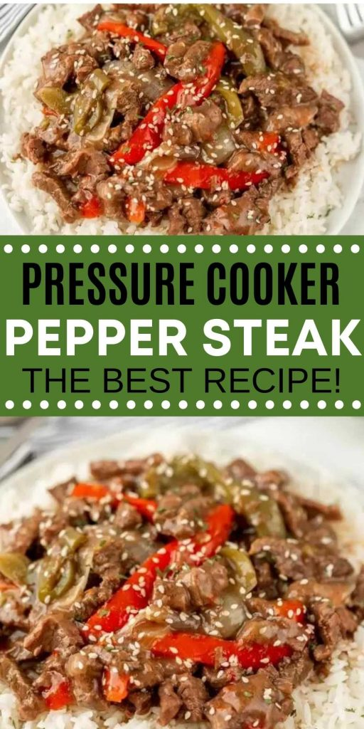 You don't need take out with this easy Instant Pot Pepper Steak. This Chinese pepper steak recipe is bursting with flavor and so simple to make in an electric pressure cooker! #eatingonadime #instantpotrecipes #beefrecipes #chineserecipes