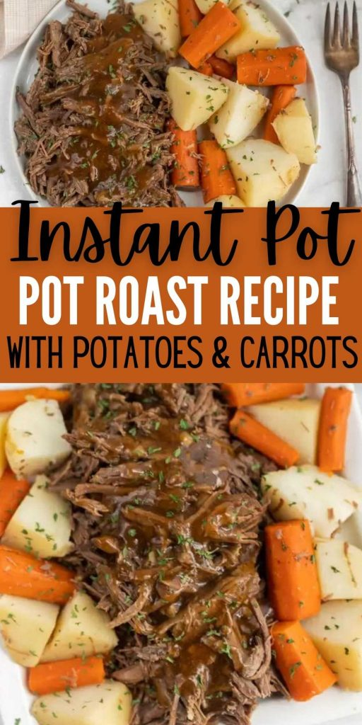 This Instant Pot Roast Dinner Recipe is amazing. It is the best Pressure Cooker Pot Roast Dinner recipe with veggies. This Instant Pot Roast and Potatoes with gravy is the easiest and the best one pot meal! #eatingonadime #beefrecipes #instantpotrecipes #pressurecookerrecipes