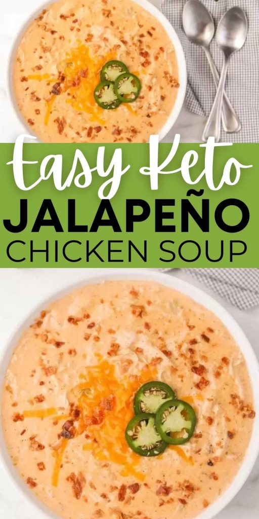 You are going to love this Keto Jalapeño Popper Chicken Soup Recipe in the instant pot or crockpot. It is low carb and is a crowd pleaser! This jalapeño popper chicken soup is easy to make and packed with tons of flavor too!  #eatingonadime #ketorecipes #lowcarbrecipes #souprecipes