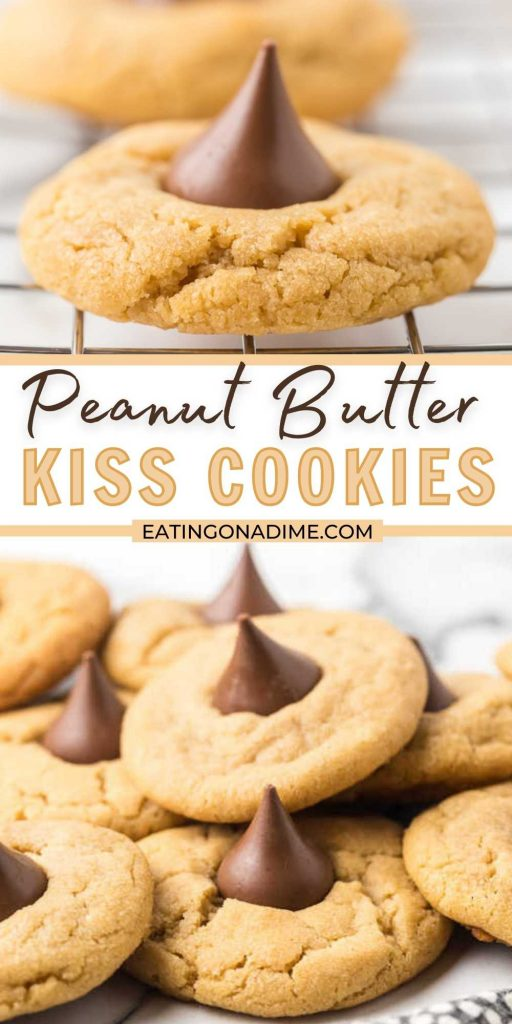 These Peanut Butter Kiss Cookiesare fun to make and taste delicious. You'll be surprised by how easy these are and everyone will love them! This Peanut Butter Kiss Cookies recipe are the best Christmas cookie recipe! #eatingonadime #cookierecipes #holidayrecipes #dessertrecipes
