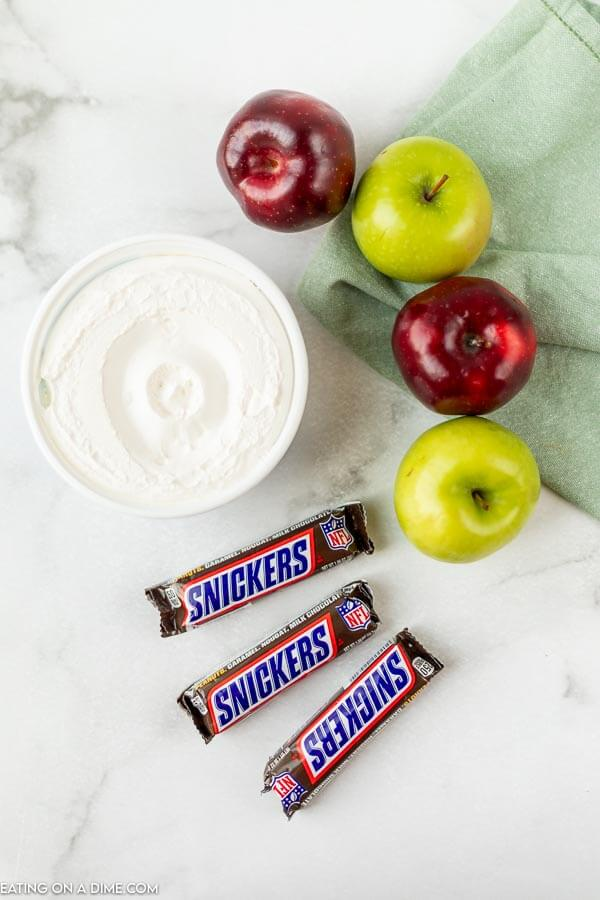 Close up image of ingredients for snicker apple salad.