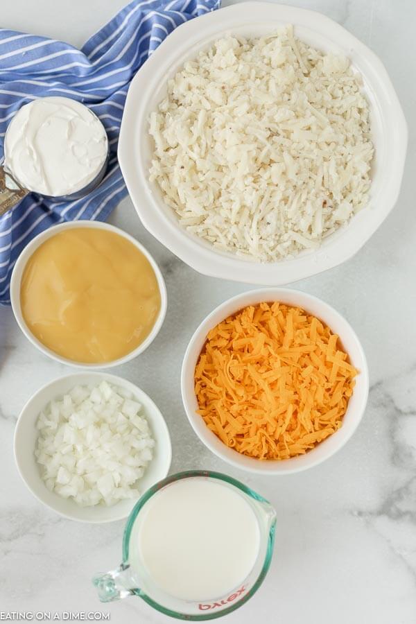 Ingredients to make cheesy potato casserole